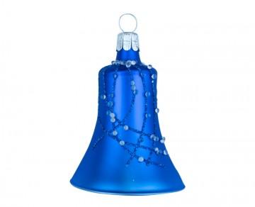 Vánoční zvonek tmavě modrý, perličky
