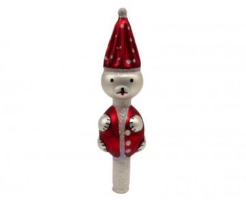 Vánoční špice červená, medvídek