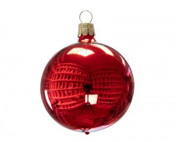 Vánoční koule červená, lesklá