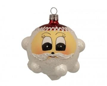 Vánoční ozdoba hlava santy, bílá