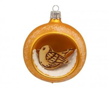 Vánoční koule zlatá tmavá, ptáček