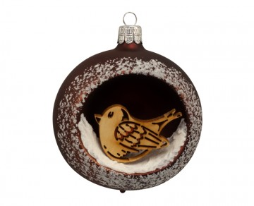 Vánoční koule čokoládová, ptáček
