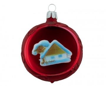Vánoční koule červená, domek