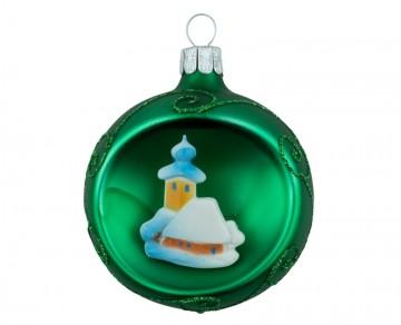 Vánoční koule zelená tmavá, domek