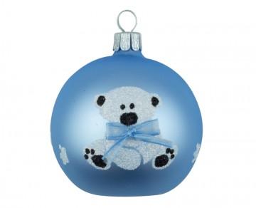 Vánoční koule bleděmodrá, dětský motiv