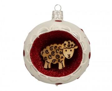 Vánoční koule porcelánová, ovečka
