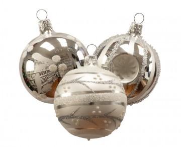 Vánoční koule stříbrná, mix koulí