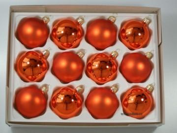 Vánoční koule oranžová, matná a lesklá