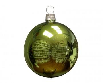 Vánoční koule olivová, lesklá