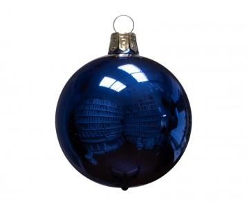 Vánoční koule modrá, lesklá