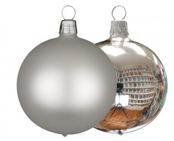 Vánoční koule stříbrná, matná a lesklá