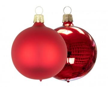 Vánoční koule červená, matná a lesklá