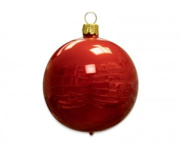 Vánoční koule červená, porcelánový odlesk