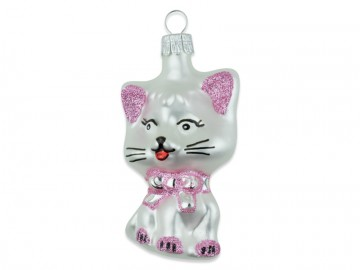 Skleněné zvířátko kočka, perleťová