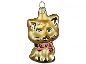 Skleněné zvířátko kočka, tmavě zlatá
