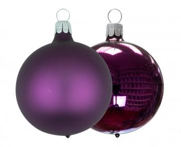 Vánoční koule tmavě fialová, matná a lesklá