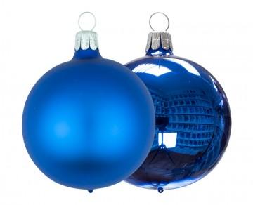 Vánoční koule modrá, matná a lesklá