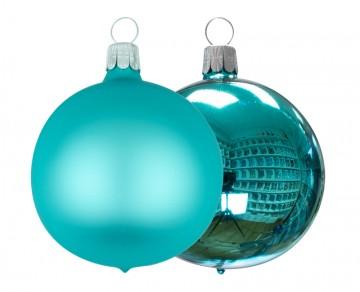 Vánoční koule tyrkysová, matná a lesklá
