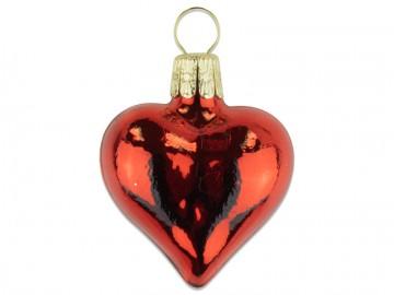 Vánoční srdce červené, lesklá