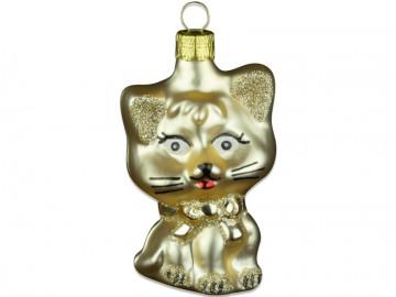 Skleněné zvířátko kočka, světle zlatá