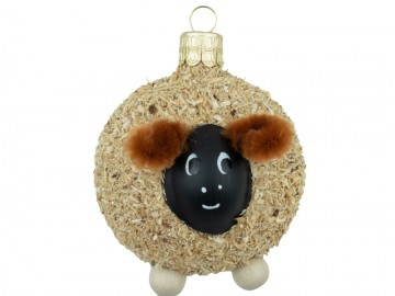 Skleněné zvířátko ovečka, hnědá
