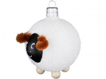 Skleněné zvířátko ovečka, bílá