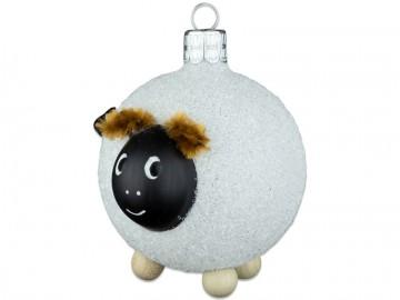 Skleněné zvířátko ovečka, perleťová