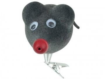 Skleněné zvířátko myš, šedá