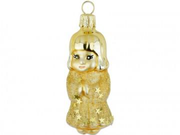 Skleněná figurka anděl, zlatá