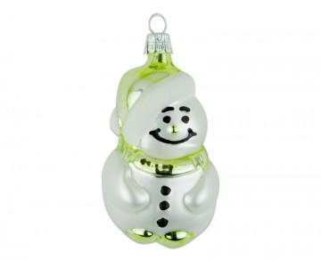 Skleněná figurka sněhulák, olivová