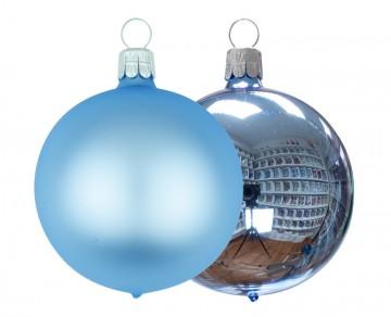 Vánoční koule bleděmodrá, matná a lesklá