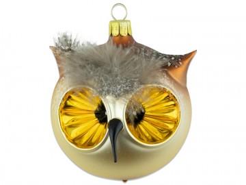Skleněný ptáček hlava sovy, světle zlatá