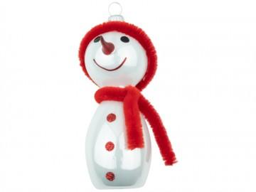 Skleněná figurka sněhulák, bílá porcelánový