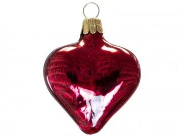 Vánoční srdce růžové, lesklé