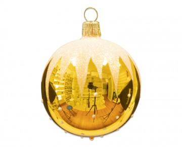Vánoční koule žlutá, rampouchy