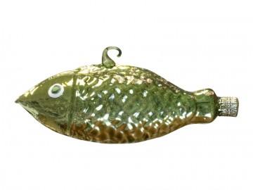 Skleněné zvířátko ryba, tmavě zelené