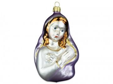 Skleněná figurka madona, fialová sv