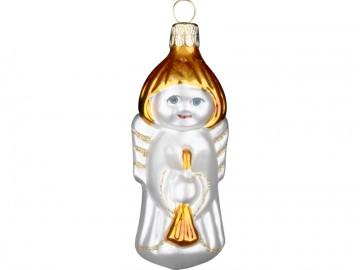 Skleněná figurka anděl, perleťový