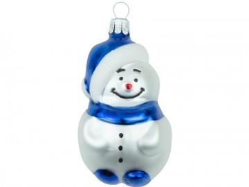 Skleněná figurka sněhulák, tmavě modrý