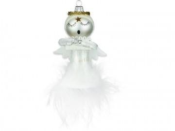 Skleněná figurka andílek, perleťová