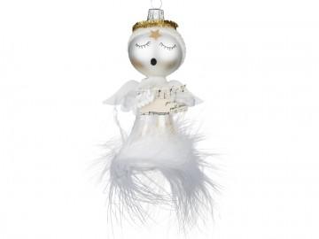 Skleněná figurka andílek, perleťový