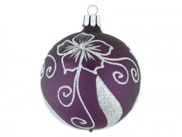 Vánoční koule fialová tm, květ
