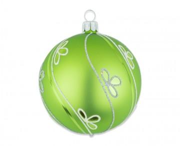 Vánoční koule olivová, šikmá vlnka lístek