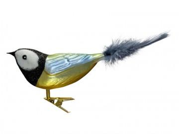 Skleněný ptáček sýkorka, perleťová