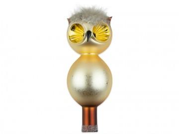 Vánoční špice světle zlatá, sova