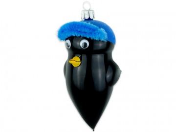 Skleněný ptáček kos, modrý