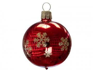 Vánoční koule červená, vločka