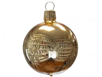 Vánoční koule zlatá světlá, vločka