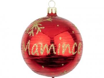 Vánoční koule červená, koule se jménem mamince