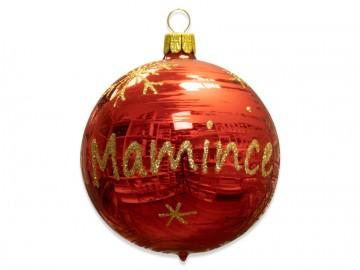 Vánoční koule červená , koule se jménem mamince